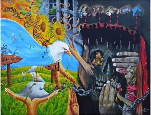 Maler vs Tätowierer: Kunstleinwand für den guten Zweck ersteigern