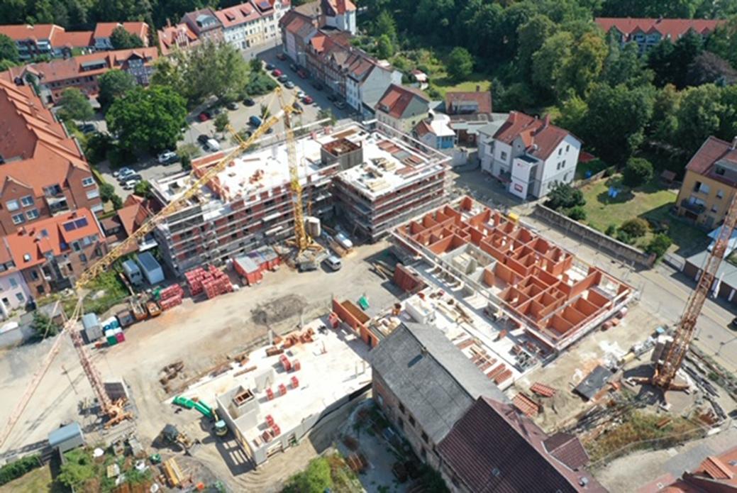 """Luftbild des Neubauvorhabens der """"Edelhöfe"""". Foto: KWG"""