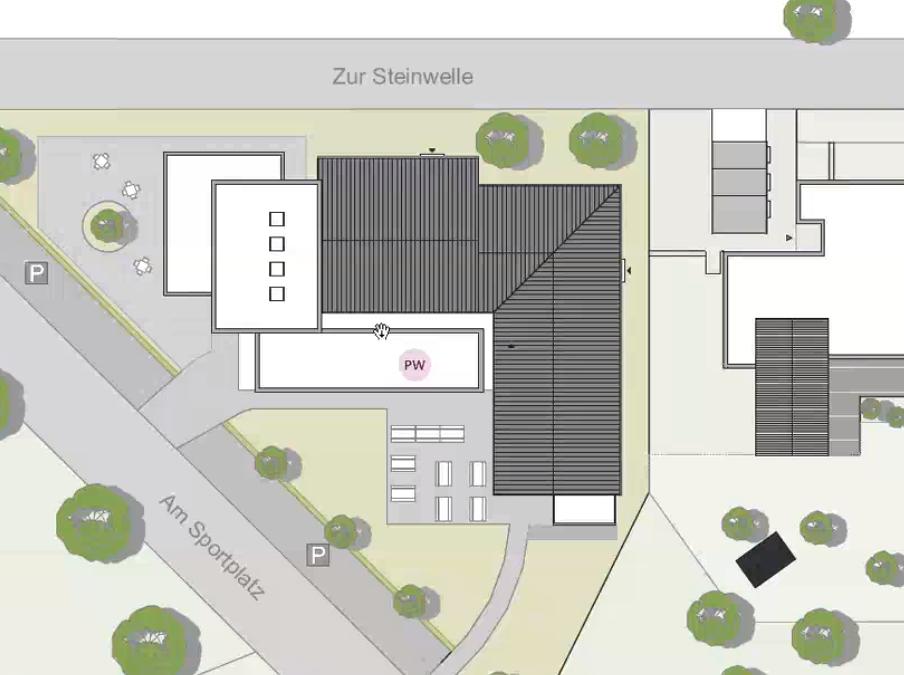Der vordere Anbau soll das Gemeindebüro sowie Lager- und Lieferräume beinhalten.