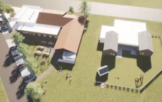 Der Anbau des Jugend- und Gästehauses orientiert sich architektonisch an den Bau der Kita, rechts im Bild.