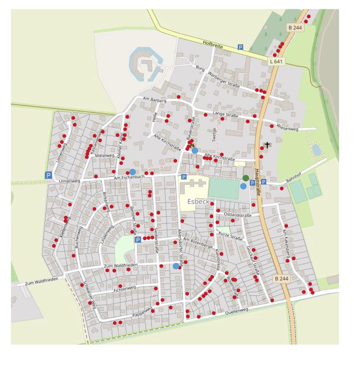 140 Familien beteiligen sich mit Verkaufsständen - auf dem Plan rot markiert.